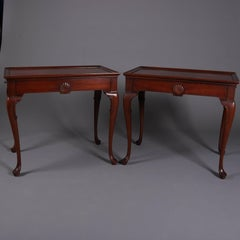 Pair of Queen Anne Style Kittinger School Mahogany Tea Tables with Candle Slides