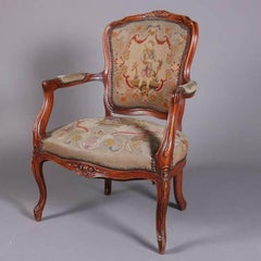 Antique French Louis XVI Carved Fruitwood Armchair with Needlepoint