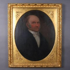 Antique Oil on Canvas Portrait by W. Tinsley, 1848 in 1st Finish Giltwood Frame