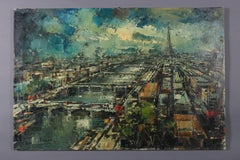 French Impressionist Oil on Canvas Cityscape of Eiffel Tower, Paris by Vincent