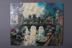 Oil on Canvas Impressionist Painting of Amsterdam Canal Cityscape by Cardele