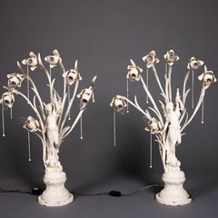 Pair of Art Nouveau Figural Post Lamps, Flower Form Lights, Early 20th Century