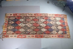 "Antique Kilim Flat Weave Long Tribal Oriental Rug (2 panels), 67"" x 145"""