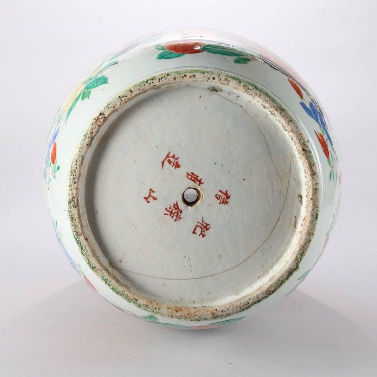 Antique Japanese Hand Enameled Imari Porcelain Floor Vase Chop Marks
