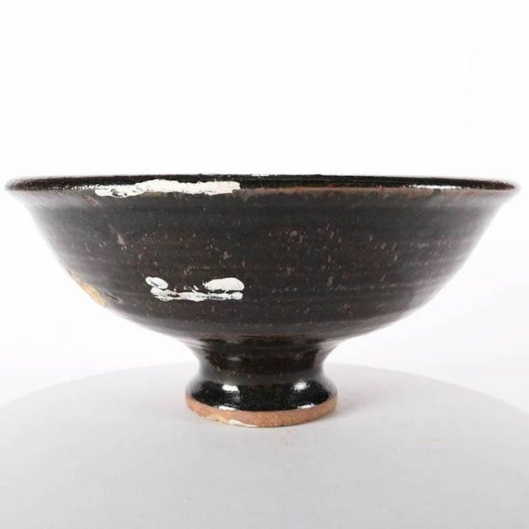 Arts and Crafts Mid-Century Modern Hand-Thrown Studio Pottery Center Bowl Signed For Sale