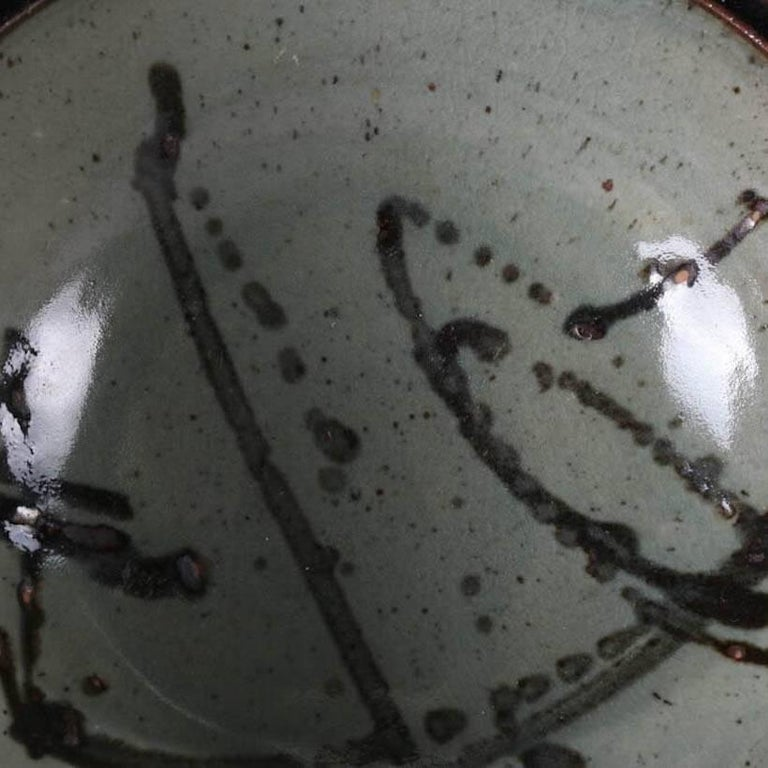 Glazed Mid-Century Modern Hand-Thrown Studio Pottery Center Bowl Signed For Sale