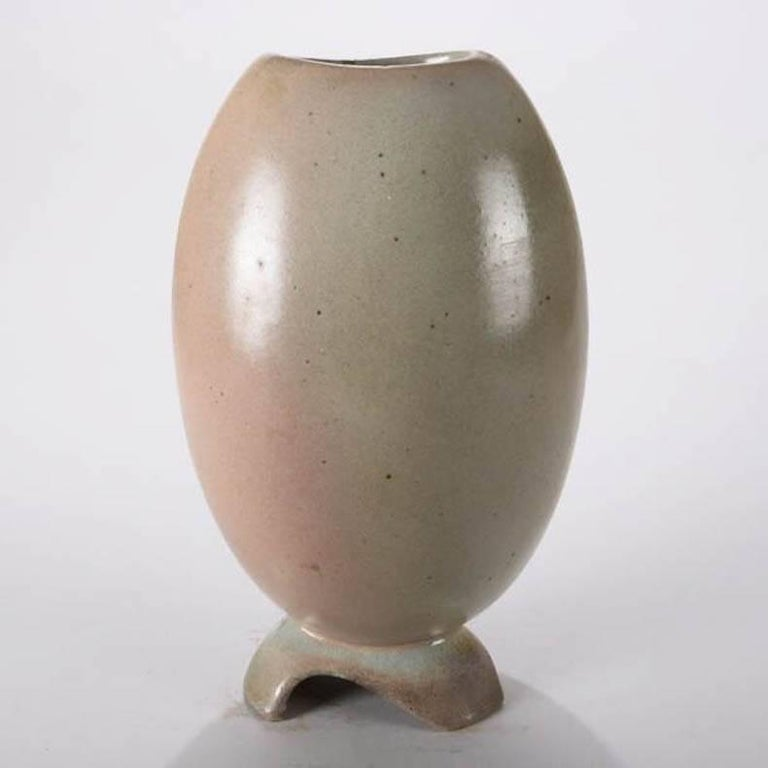 American Mid-Century Modern Hand-Thrown Art Pottery Futuristic Form Vase For Sale
