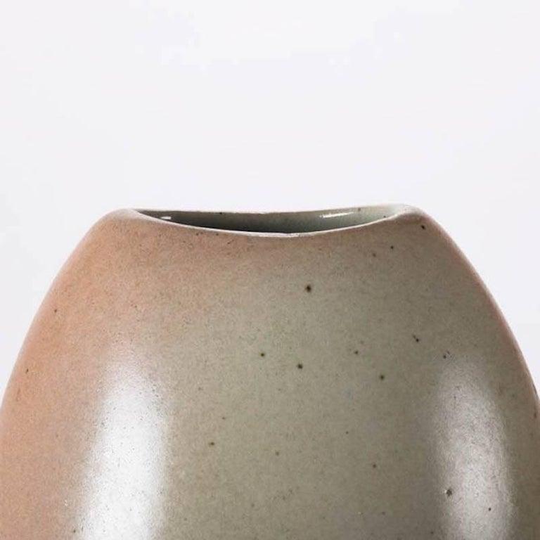 Glazed Mid-Century Modern Hand-Thrown Art Pottery Futuristic Form Vase For Sale