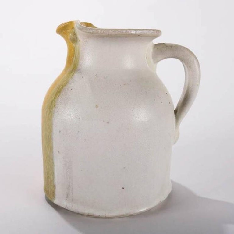 Glazed Mid-Century Modern Hand-Thrown Art Pottery Pitcher by T Randall For Sale