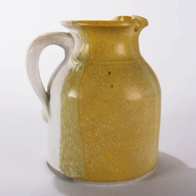 American Mid-Century Modern Hand-Thrown Art Pottery Pitcher by T Randall For Sale