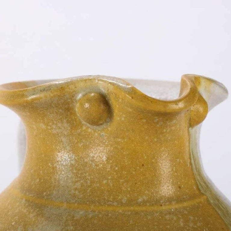 20th Century Mid-Century Modern Hand-Thrown Art Pottery Pitcher by T Randall