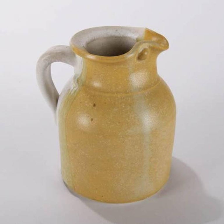 Arts and Crafts Mid-Century Modern Hand-Thrown Art Pottery Pitcher by T Randall For Sale