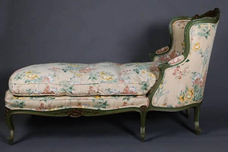 Antique french louis xv style carved gilt and paint for Antique chaise lounge for sale