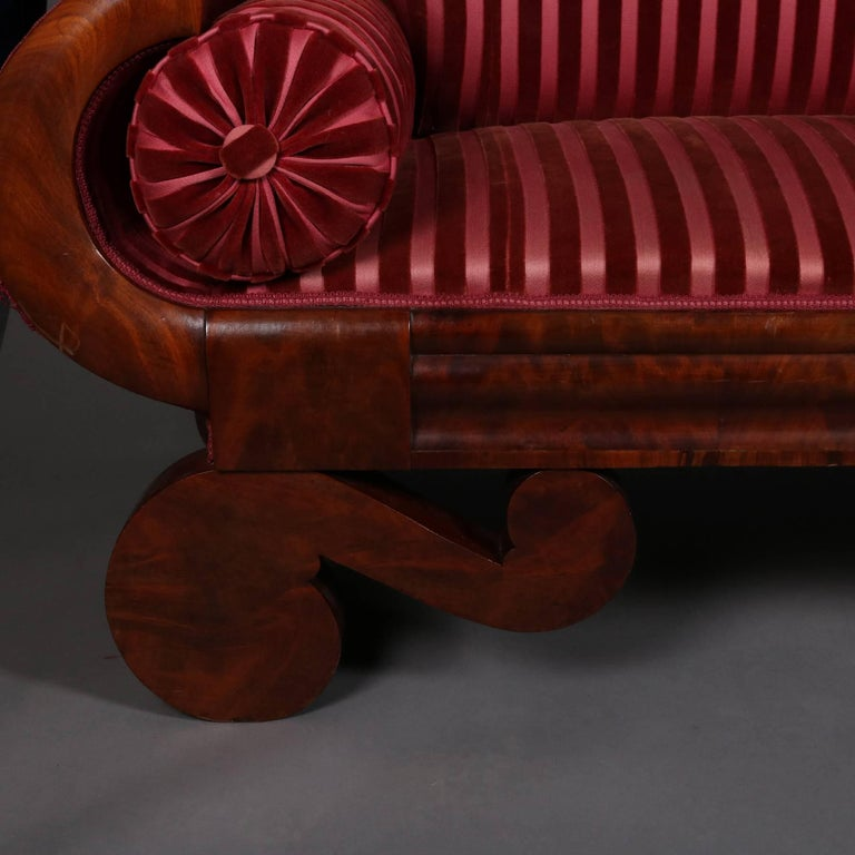 Antique Joseph Meeks And Co Flame Mahogany Classical Empire Sofa