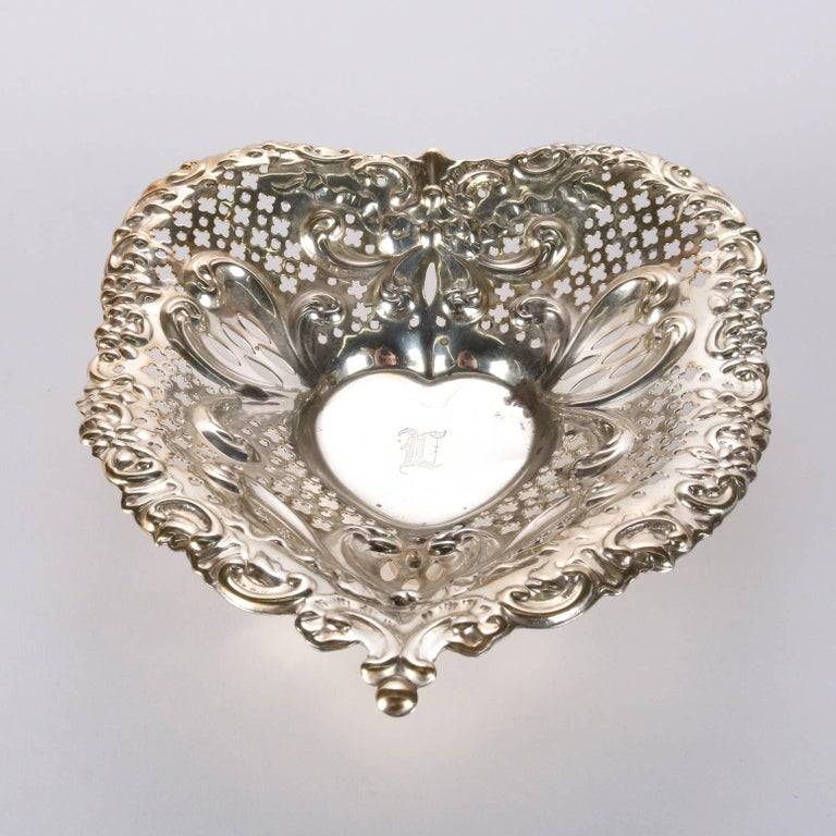 19th Century Antique Sterling Silver Gorham Heart Shaped Reticulated and Footed Dish For Sale