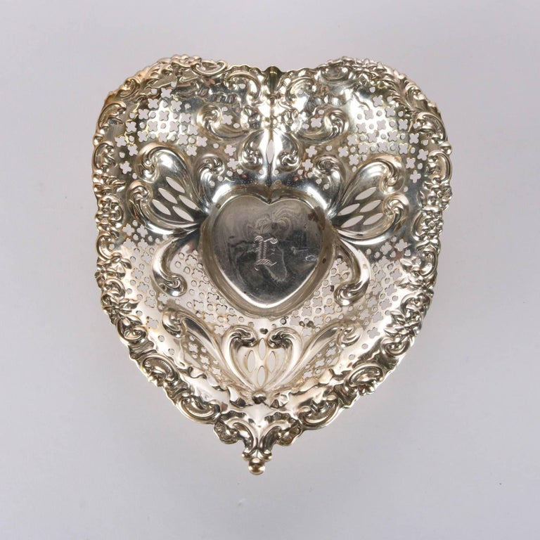 Antique Sterling Silver Gorham Heart Shaped Reticulated and Footed Dish For Sale 1