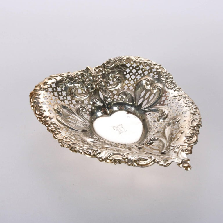 Antique Sterling Silver Gorham Heart Shaped Reticulated and Footed Dish For Sale 4