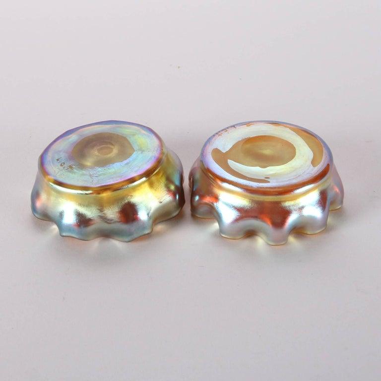 19th Century Pair of Antique Louis Comfort Tiffany Gold Favrile Art Glass Salt Cellars