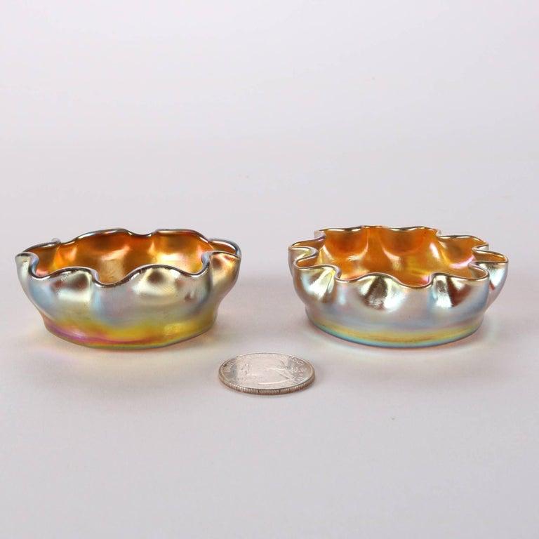 Pair of Antique Louis Comfort Tiffany Gold Favrile Art Glass Salt Cellars 1