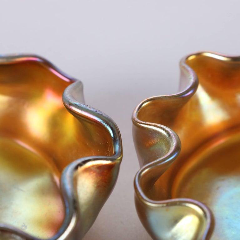 American Pair of Antique Louis Comfort Tiffany Gold Favrile Art Glass Salt Cellars