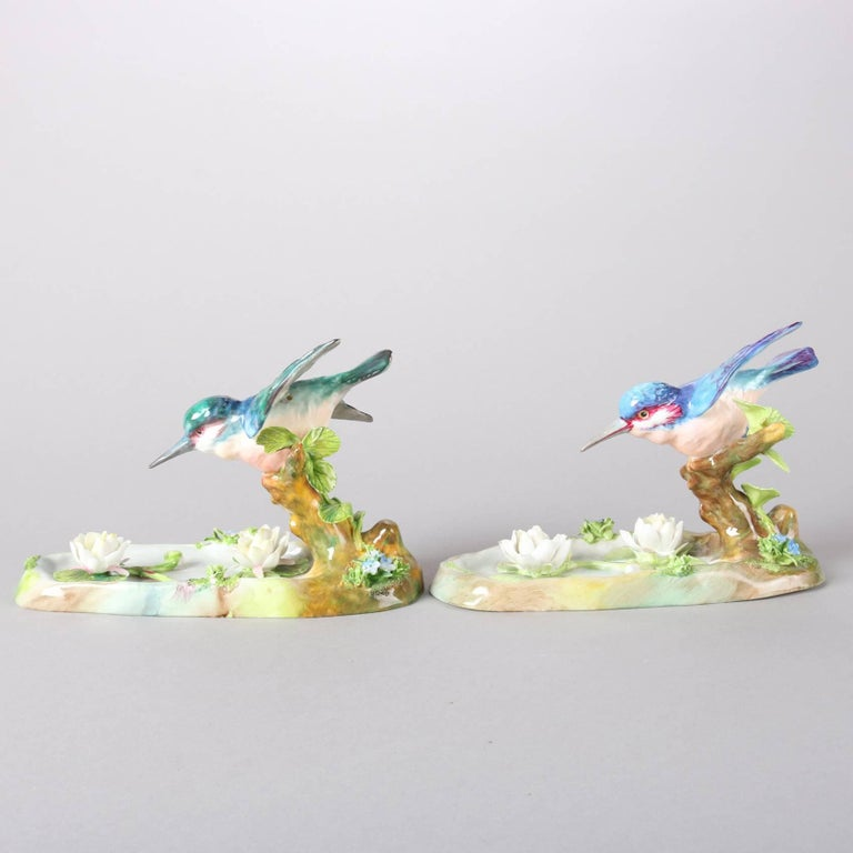 20th Century Pair of Antique English Staffordshire Porcelain J. T. Jones King Fishers For Sale