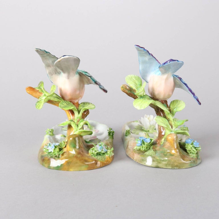 Pair of Antique English Staffordshire Porcelain J. T. Jones King Fishers For Sale 5