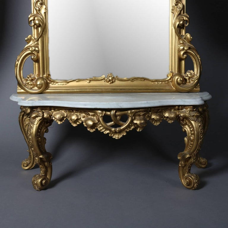 Antique French Louis Xiv Style Giltwood Pier Mirror With
