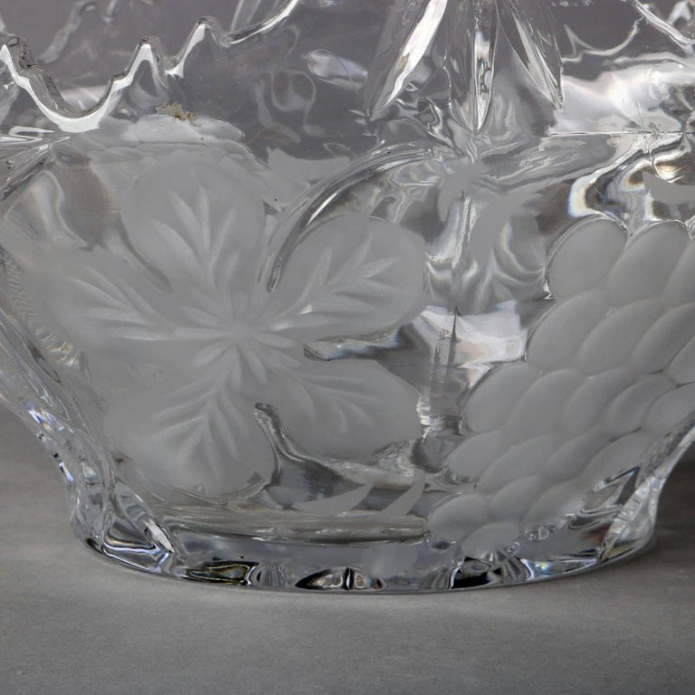 Hand-Carved Hawkes School Cut and Etched Grape and Floral Crystal Basket, 20th Century For Sale
