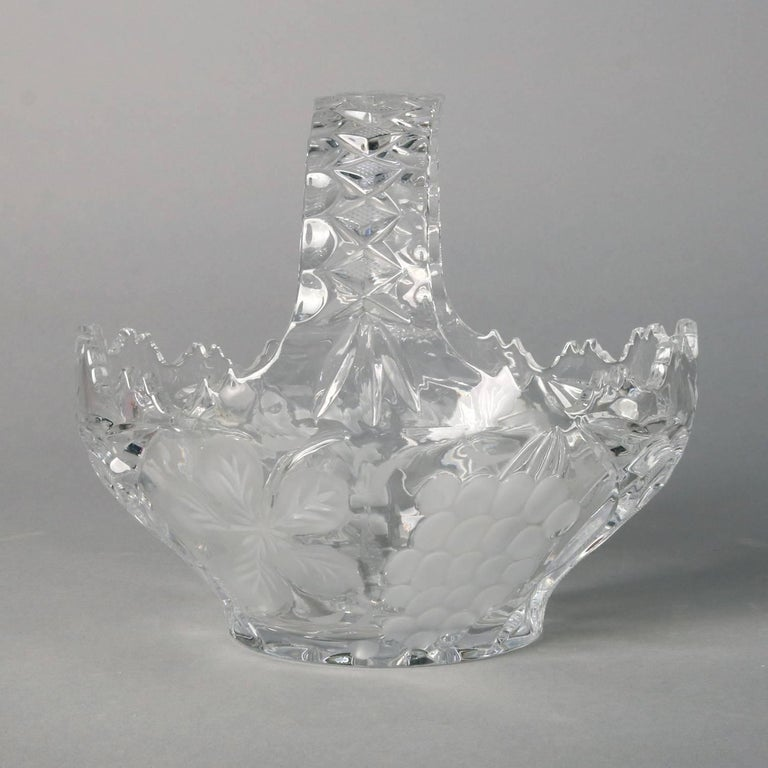 Hawkes School Cut and Etched Grape and Floral Crystal Basket, 20th Century In Good Condition For Sale In Big Flats, NY