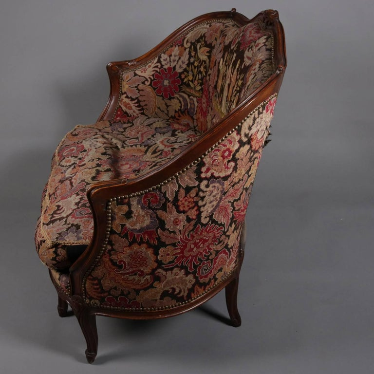 French Louis XV Style Mahogany and Pictorial Tapestry Settee, 19th Century For Sale 2