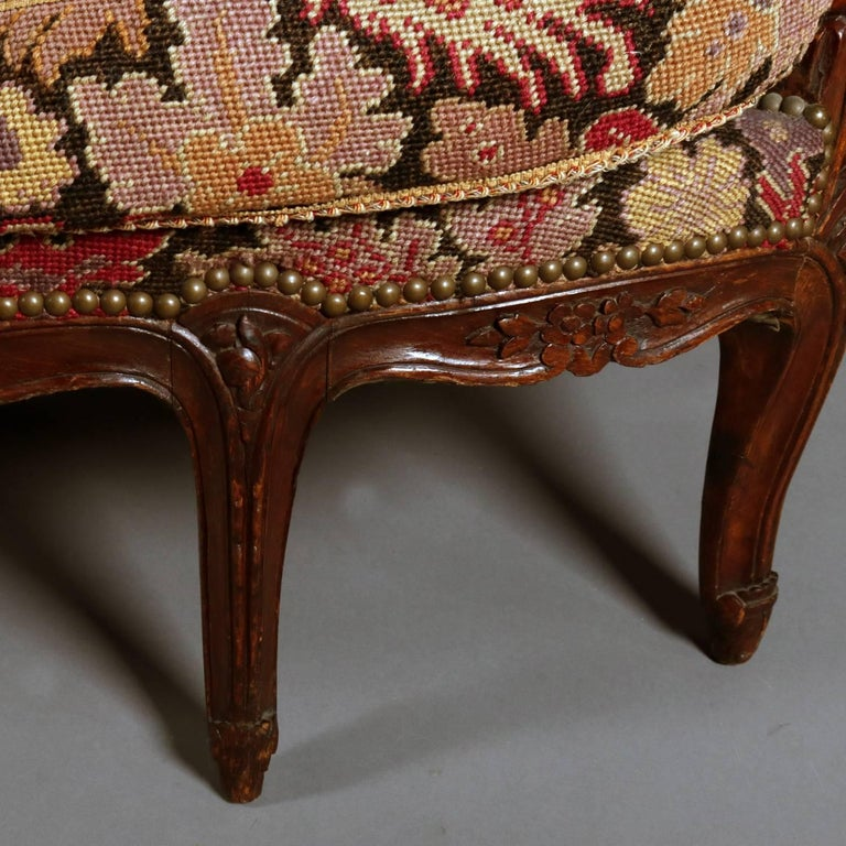 French Louis XV Style Mahogany and Pictorial Tapestry Settee, 19th Century For Sale 1