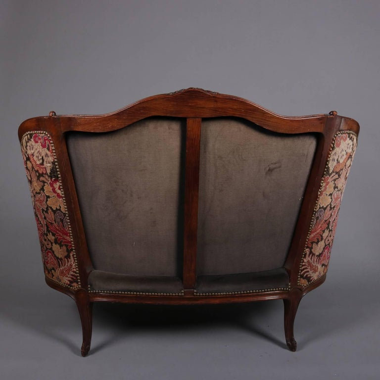 French Louis XV Style Mahogany and Pictorial Tapestry Settee, 19th Century For Sale 4