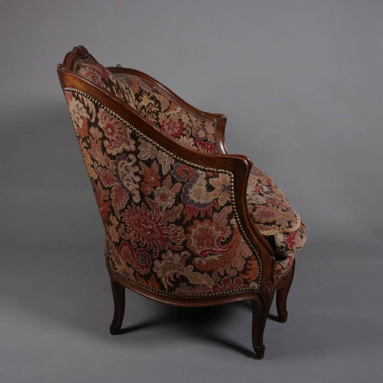 French Louis XV Style Mahogany and Pictorial Tapestry Settee, 19th Century For Sale 5