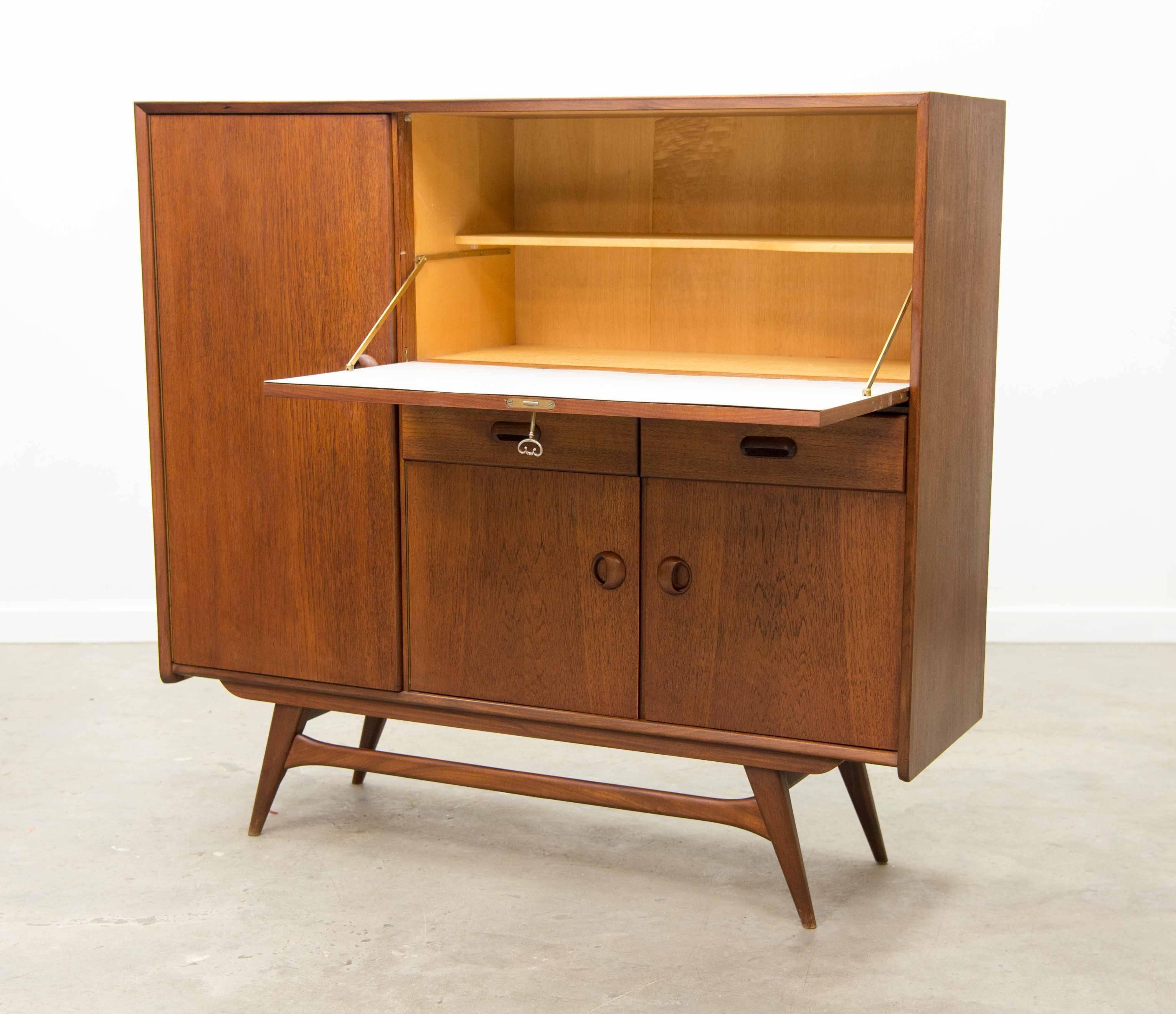 Delightful Mid Century Modern Louis Van Teeffelen For WeBe, Vintage Bar Cabinet, The  Netherlands