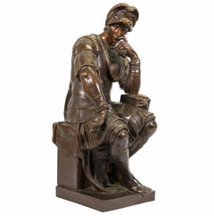 Bronze statue after Michelangelo, Lorenzo De' Medici statue in Florence, Italy