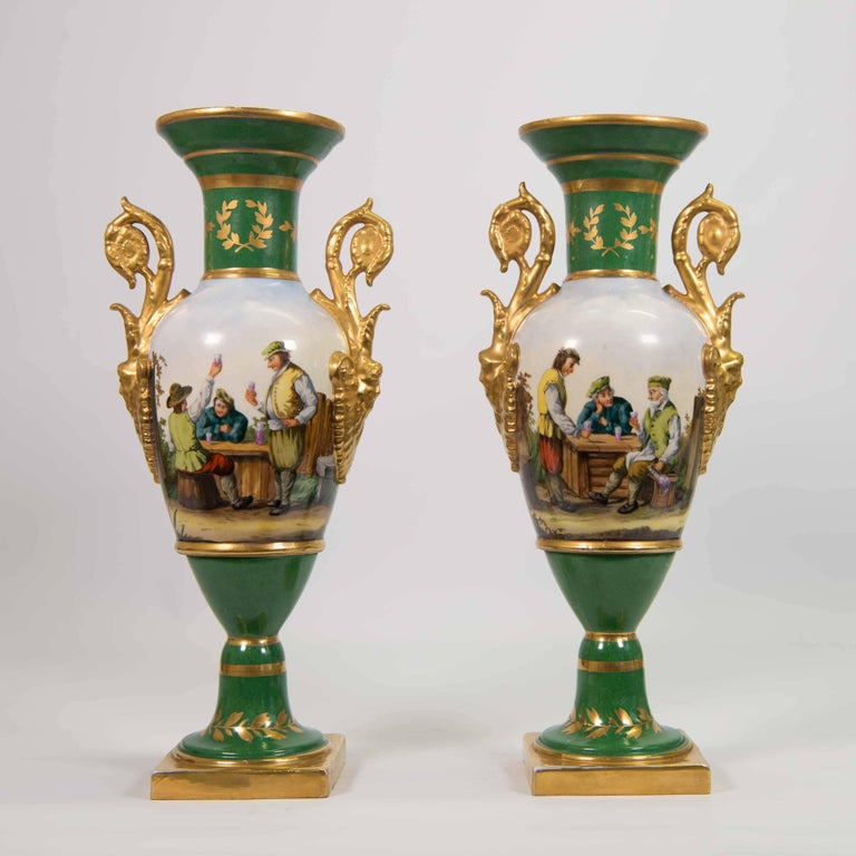 Pair Of Meissen Porcelain Vases With Landscape And Caf Images At