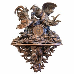 Black Forest Cartel Clock in Sculptured Wood with Rooster Fight, Germany