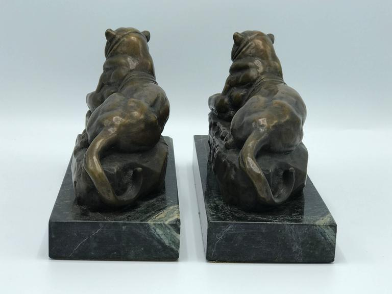 1920s French Art Deco Barye Bronze Panther Bookends on Marble Bases, Pair 3
