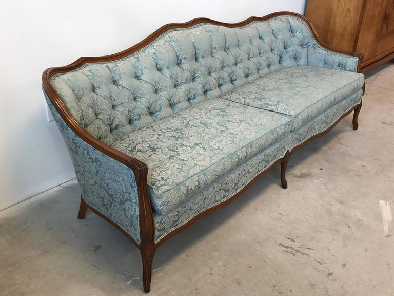 Offered Is A Beautiful 1940s French Tufted Sofa Upholstered In Original Blue Damask