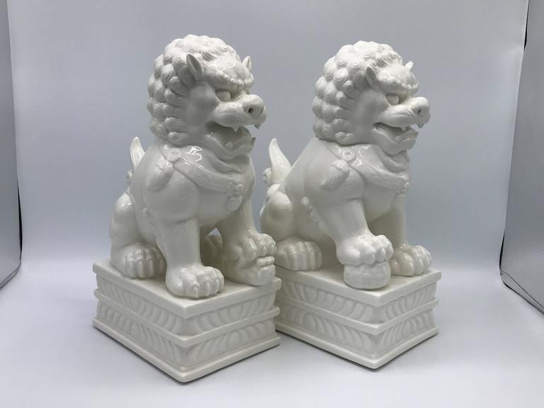 1960s Large Blanc de Chine Foo Dog Statues, Pair 2