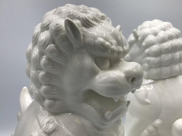 1960s Large Blanc de Chine Foo Dog Statues, Pair 4
