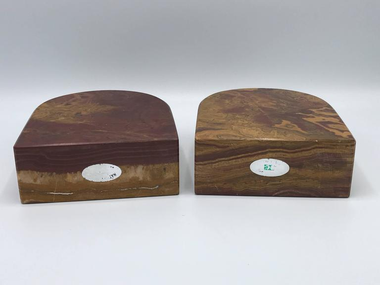 1950s Italian Rounded Petrified Wood Bookends Pair At 1stdibs