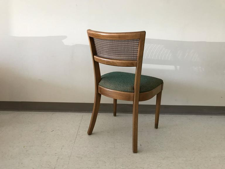 Mid Century Modern 1960s Drexel Walnut Dining Chairs With Cane Backing And  Green Fabric,