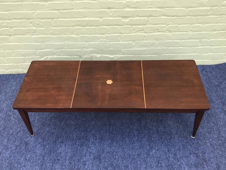Offered Is A Gorgeous 1960s Dark Walnut Coffee Table With Blonde Wood Inlay Marked