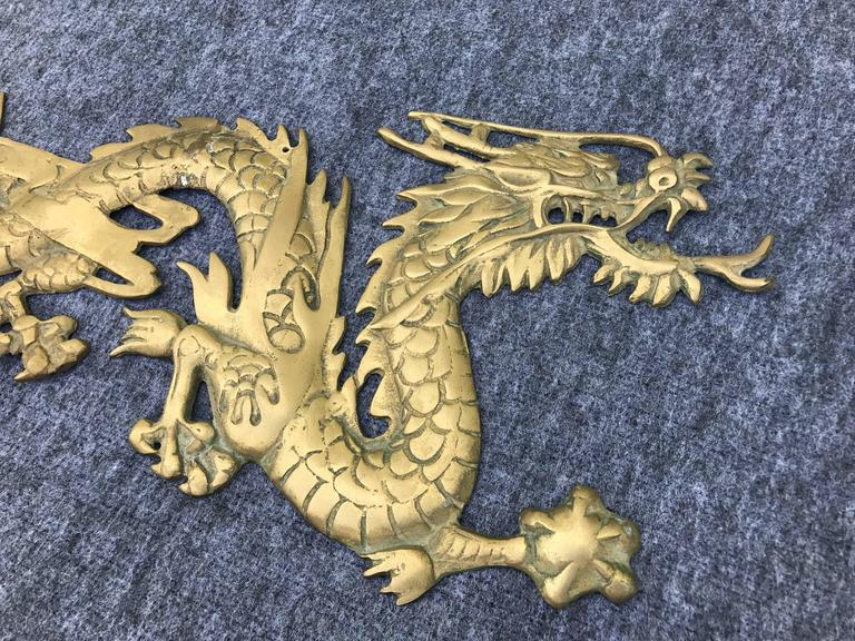 Chinoiserie 1950s Asian Brass Dragon Wall Sculpture For Sale