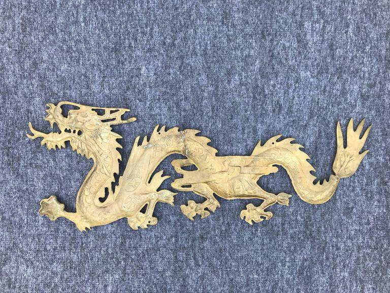 20th Century 1950s Asian Brass Dragon Wall Sculpture For Sale