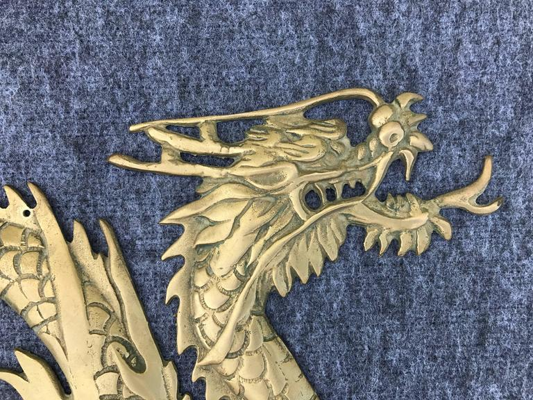 1950s Asian Brass Dragon Wall Sculpture In Excellent Condition For Sale In Richmond, VA