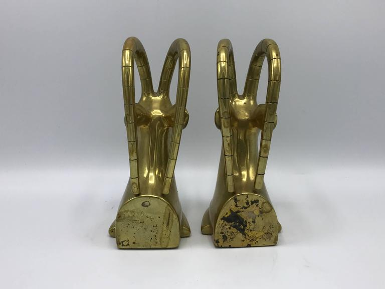 20th Century 1960s Solid Brass Gazelle Bookends, Pair For Sale