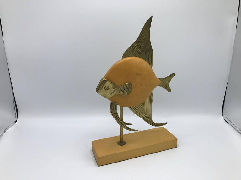 Mid-Century Modern 1970s Sarreid Style Brass and Wood Mounted Fish Sculpture For Sale