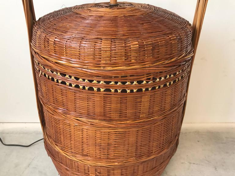 1960s Wicker Rice Basket Table Lamp at 1stdibs